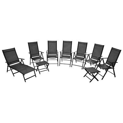 vidaXL Nine Piece Sunlounger Chairs Footstools.Garden Furniture Set Aluminium