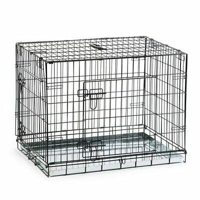 Beeztees Dog Cat Puppy Pet Metal Wire Cage Crate Carrier 78x55x61cm Black 715802