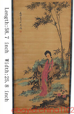 Chinese style Ancient Ladies chart Antique Home Furnishing Mounting painting