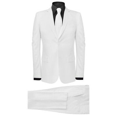 Men's 2 Piece Suit with Tie Jacket Trousers Smart Business Work White Size 50