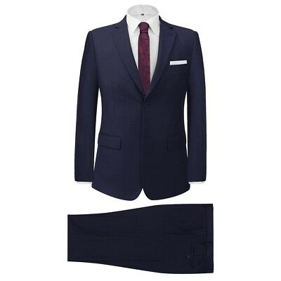 Men's Two Piece Formal Dinner Wedding Business Suit Jacket/Trousers Navy Size 56