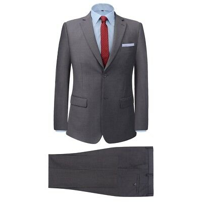 Men's Two Piece Formal Dinner Wedding Business Suit Jacket/Trousers Grey Size 48