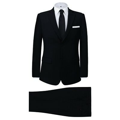 Men's Two Piece Formal Dinner Wedding Business Suit Jacket/Trousers Black Size56