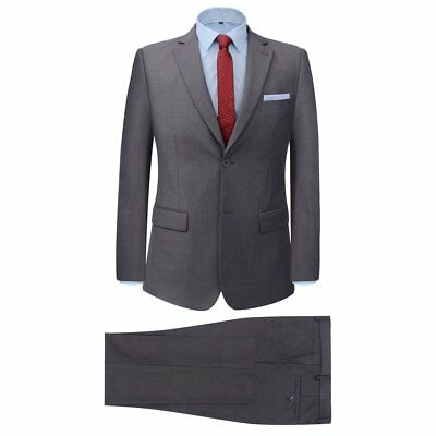 Men's Two Piece Formal Dinner Wedding Business Suit Jacket/Trousers Grey Size 46