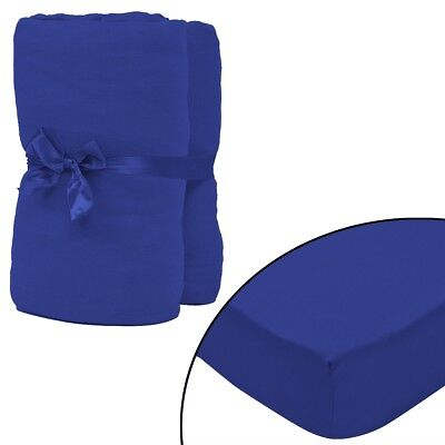 2 pcs Bed Fitted Sheet Cover 100% Cotton Jersey 180x200-200x220 cm Blue Bedding