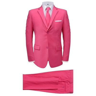 Men's 2 Piece Suit with Tie Jacket Trousers Smart Business Work Pink Size 46