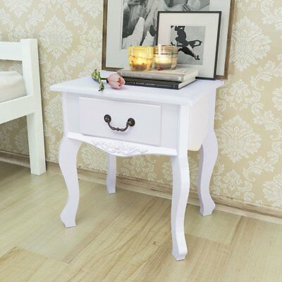 vidaXL 2 pcs Bedside Night Cabinets Drawer End Side Tables Nightstands MDF White