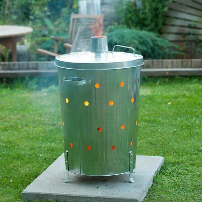 Nature Garden Incinerator Fire Bin Rubbish Leaves Wood Burner Galvanised 6070464