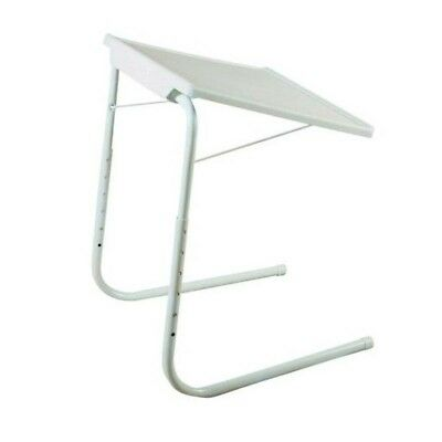 MESA LIVING Adjustable TV Tray Folding Table Portable Desk Bed Tavolino White
