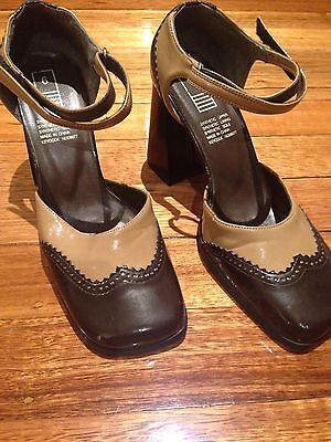 PATENT ~ Taupe/Brown VINTAGE ~ Style ~ RETRO WOMENS SHOES Size 6