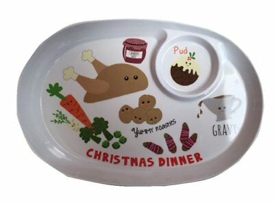 Christmas Childrens Kids Xmas Dinner Plate With 2 Sections White