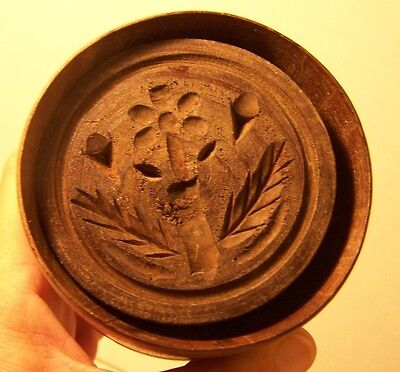 Early Antique Primitive Wooden Butter Cheese Mold Press Stamp Flower Thistle