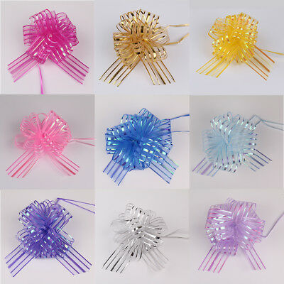 10Pcs 50MM Large Organza Ribbon Pull Bows Various Colours Wedding/Party/Giftwrap