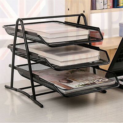 3 Tier Office Metal Mesh Desk Document File Paper Letter Trays Organiser Holder