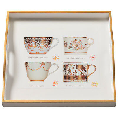 NEW Whitelaw & Newton Antique Cups Gold On White Square Tray