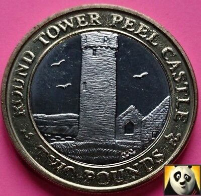 2006 Rare Key Date ISLE OF MAN £2 Two Pound Round Tower Peel Castle UNC Coin