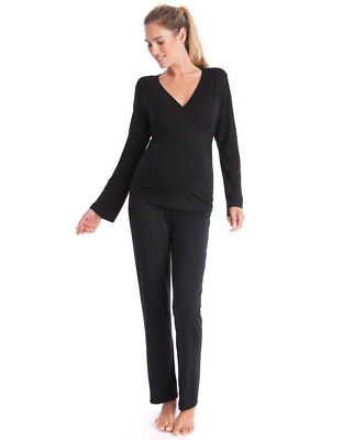 New Black Grey Maternity Pyjamas, Sleepwear, Lounge Set Top Leggings Sizes 10 12