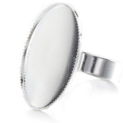 10 Adjustable Oval Cabochon Rings Support silver 18.3mm V2D4