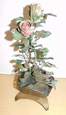 Original Antique Vtg Hand Forged Wrought Iron Red Rose Bush Blacksmith Sculpture