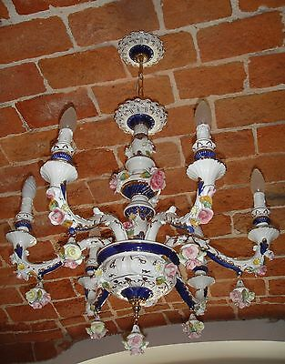 Lampadario 6 Luci Porcellana Capodimonte Porcelain China Big Chandelier 6 Lamps
