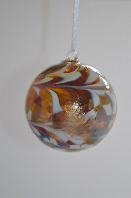 """Hand Blown 8cm Friendship /Kugel / Witches Ball """"Bronze and White"""""""