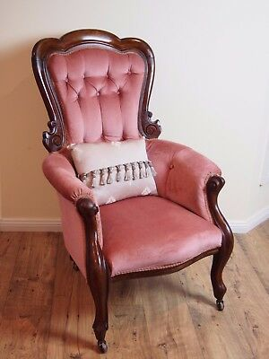 Antique French Rococo Style Mahogany Velvet Chesterfield Hall Armchairs/chair