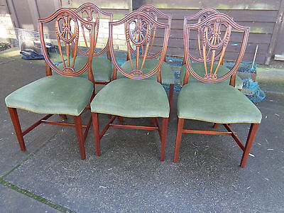 Six Bevan Funnell Reprodux Mahogany Dining Chairs Green Seats