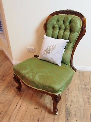 Antique French Style Walnut Chesterfield Grandmother Hall/bedroom Chair