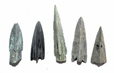 Lot Of 5 Ancient Bronze Arrow Heads - Ancient Historical Artifacts Lovely - P405