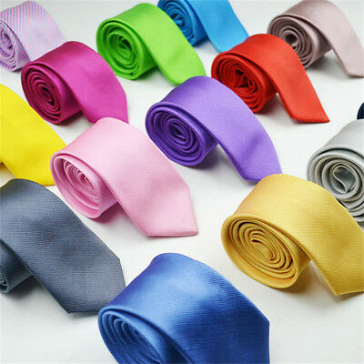 Mens Classic Fashion Necktie Tie Slim Skinny Wedding Neck Tie Satin Solid color