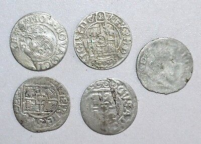 Lot Of 5 Medieval Silver Hammered Coins - Ancient Artifact Superb - P406
