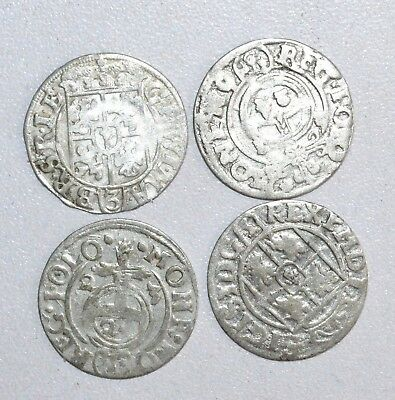 Lot Of 4 Medieval Silver Hammered Coins - Ancient Artifact Fantastic - P409