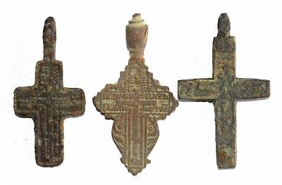Lot Of 3 Post/medieval Bronze Cross Pendants - Wearable Artifacts Superb - P413
