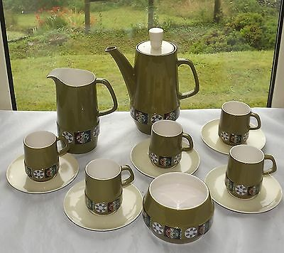 Vintage Retro Carlton Ware Tapestry Pattern Coffee Set 13 Pieces Cups Milk etc