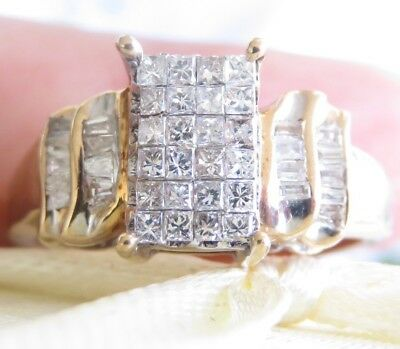 Huge Genuine 1.00ct Diamond Cocktail Ring 10K Solid Yellow Gold