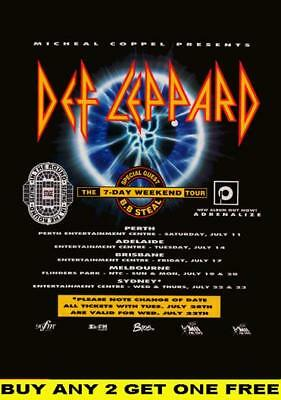 DEF LEPPARD 7 Day Weekend Laminated Australian Tour Poster