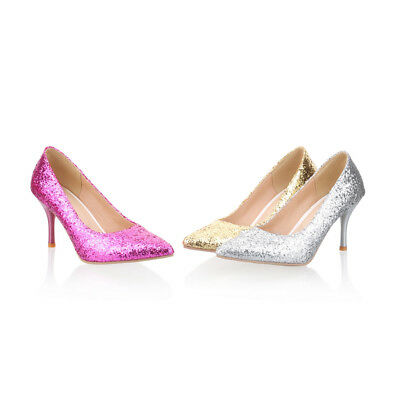 Sexy Womens stiletto high heel Pointed Evening party glitter Sequins pumps Shoes