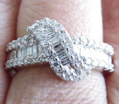 Genuine 1.00ct Diamond Dress Ring 14K Solid Two Tone Gold