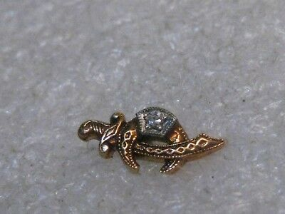 14kt  Rose Gold Diamond Masonic/Shriner's Lapel Pin, 1950's