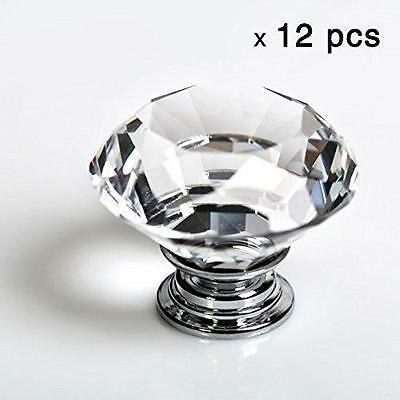 12 Clear Glass kitchen Cabinet Crystal Knob Fit Cupboard Dresser drawer Door