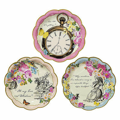 Truly Alice in Wonderland Paper Plates, 3 Designs - Pack of 12