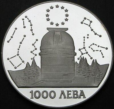 BULGARIA 1000 Leva 1995 Proof - Silver - Rozhen Astronomical Observatory- 2197 ¤