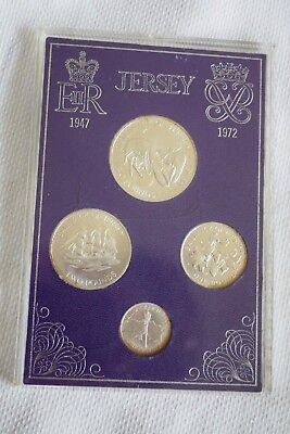 Jersey 1972 Silver Proof Set W/ Case 4 Coins Bailiwick Wedding Anniversary MS2