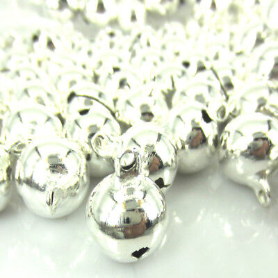 12/24/50 14mm Silver Copper Bell Craft Jingle Bells With Loop Use Dangle Charms