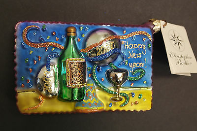 Christopher Radko New Year's 2000  Postcard Ornament with tag
