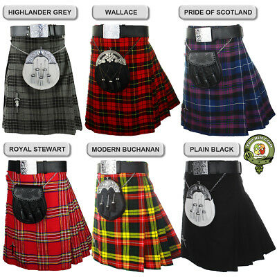 Mens Kilt, 5 Yard Scottish Kilt, 13oz Casual Kilts, Six Tartans + KILT PIN