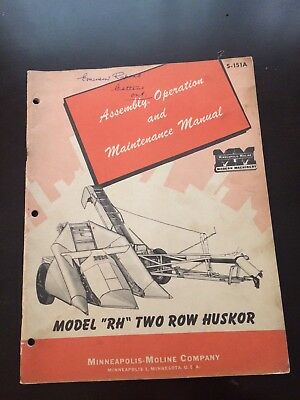 "Minneapolis-Moline ""rh"" Two Row Huskor Owners Manual P/n S-151A"
