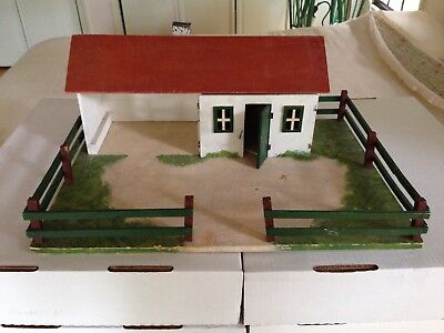 Antique German Christmas Putz Barn And Barnyard