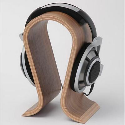 Classic Walnut Finish Wooden Headphone Stand Headset Earphone Holder Hanger Wood