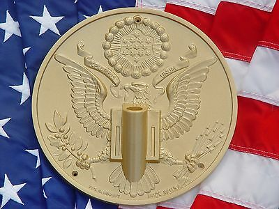NEW Gold Great Seal President Flagpole Wall Mount Holder Bracket CHRISTMAS GIFT